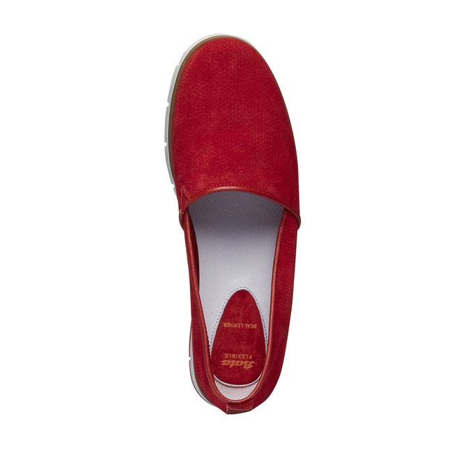 Slip-Ons aus Leder mit Perforation flexible, Rot, 513-5200 - 19