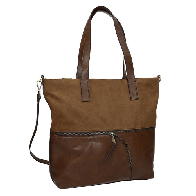 Damenhandtasche mit asymmetrischem Reissverschluss, Braun, 961-3847 - 13