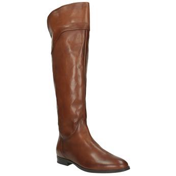 Braune Overknee-Lederstiefel bata, Braun, 594-4605 - 13