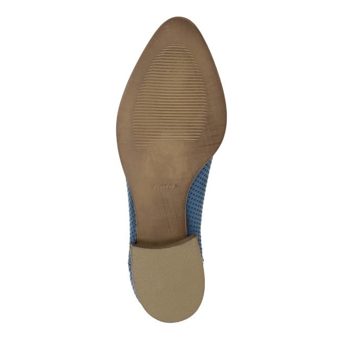 Lederstiefeletten mit Perforation bata, Blau, 596-9647 - 26