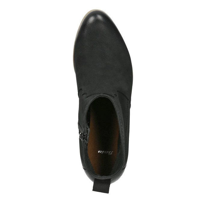 Schwarze Lederstiefeletten bata, Schwarz, 596-6633 - 19