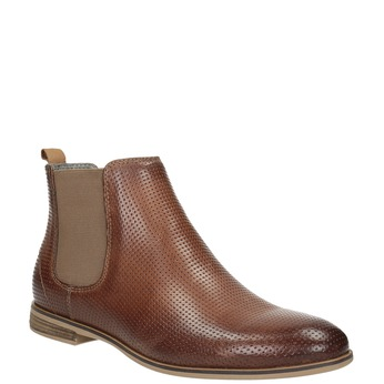 Knöchelhohe Chelsea Boots aus Leder mit Perforation bata, Braun, 596-4644 - 13