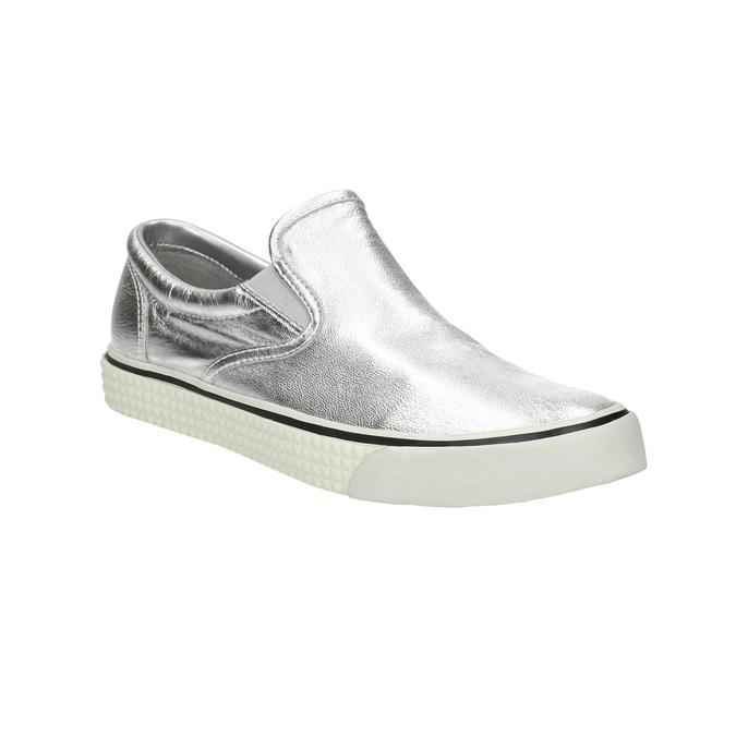 Silberne Slip-Ons aus Leder diesel, Silber , 504-1437 - 13