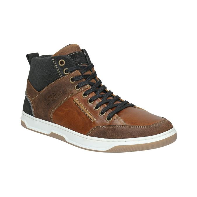 Knöchelhohe Sneakers aus Leder bata, Braun, 846-3640 - 13