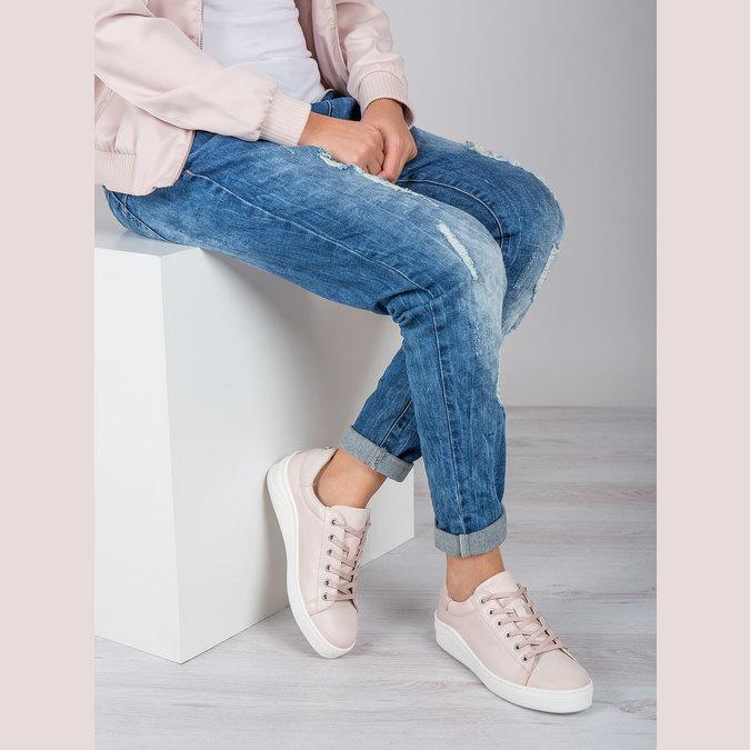 Damen-Sneakers aus Leder bata, Rosa, 526-5641 - 19