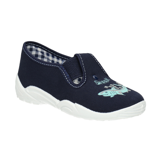 Kinderpantoffeln mit Hai-Motiv mini-b, Blau, 379-9213 - 13