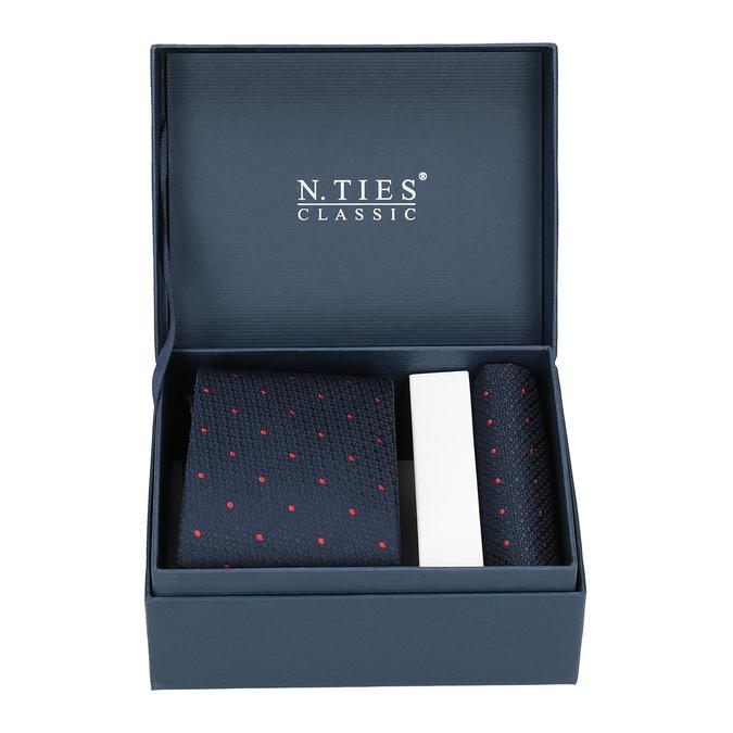Set, bestehend aus Krawatte und Einstecktuch mit Muster bata, Blau, 999-9296 - 13