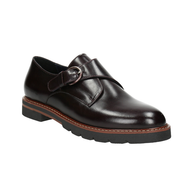 Damen-Monk-Shoes aus Leder bata, Rot, 516-5611 - 13