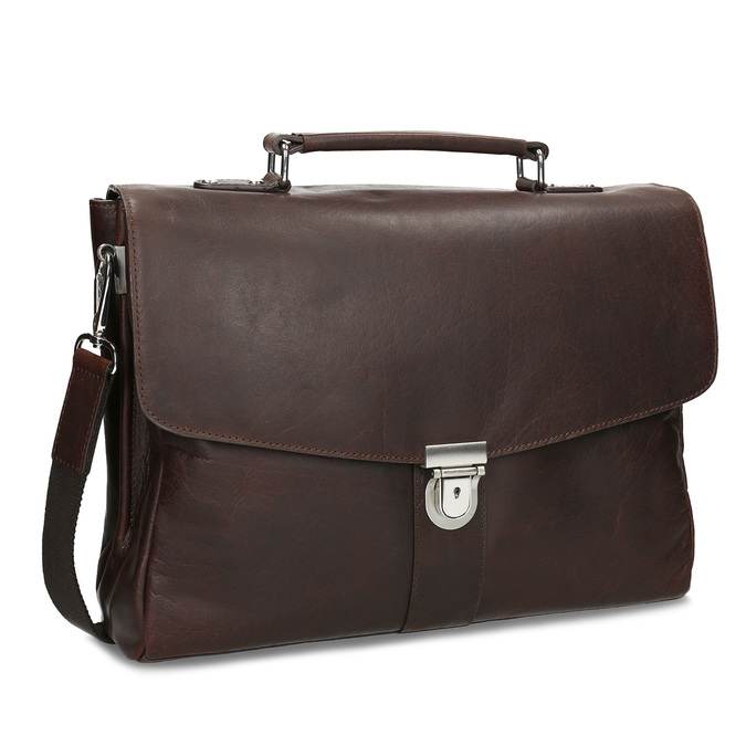Braune Aktentasche aus Leder bata, Braun, 964-4289 - 13