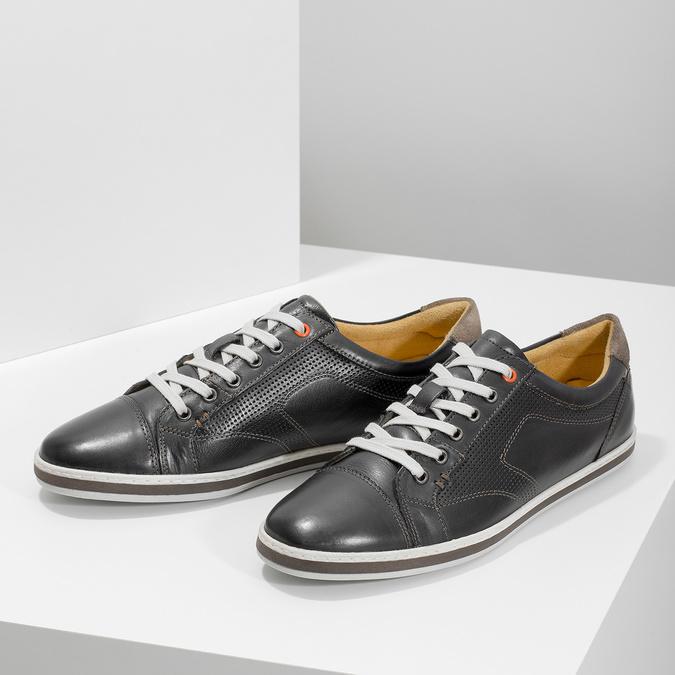 Herren Leder-Sneakers bata, Schwarz, 846-6617 - 16