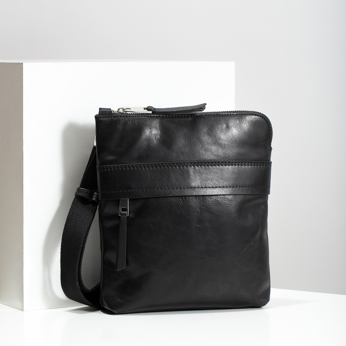 Schwarze Crossbody-Tasche aus Leder bata, Schwarz, 964-6288 - 17