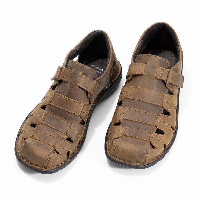 Braune Herrensandalen aus Leder bata, Braun, 864-4600 - 16