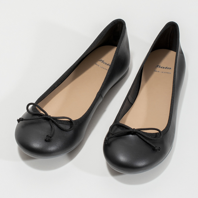 Leder-Ballerinas bata, Schwarz, 524-6144 - 16